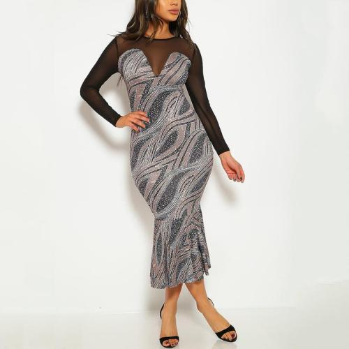 Sexy Long Sleeve Mesh Patchwork Formal Dress