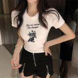 E crop tops t shirt women angel letter print graphic tees