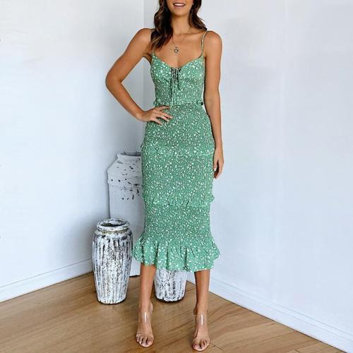 Sexy Sling Print Slim Fit Dress