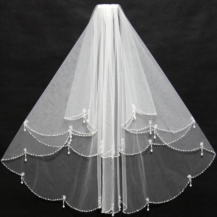 Simple 2 layers Short Beaded Pearl Wedding Veil White Ivory Tulle Women Bridal Veil With Comb Wedding Accessories