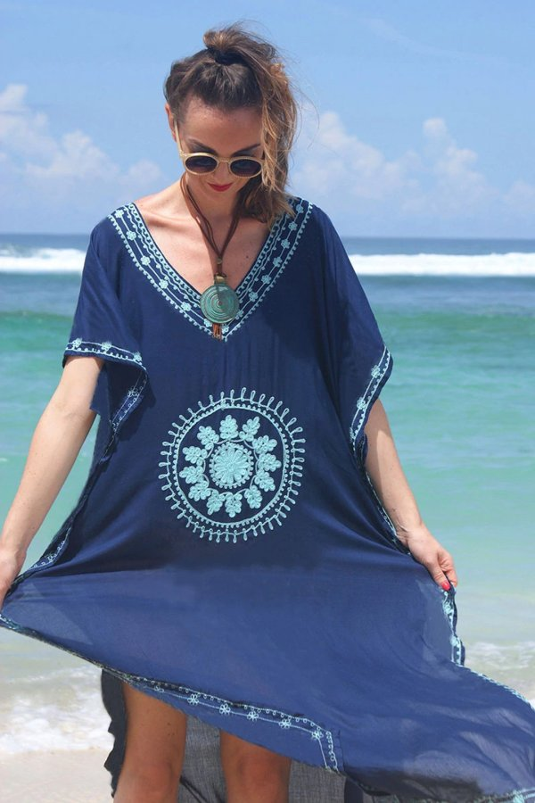 Maxi Boho Dress, Beach Dress,  Embroidered Dress, Navy & Black