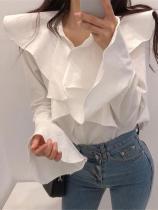Fashion Lotus Edge Horn Sleeve Shirt