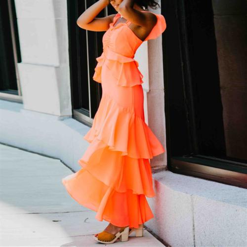 Fashion Sexy Tiered Ruffled Slim Dresses
