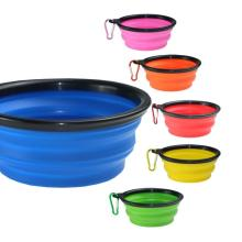Silicone Collapsible Foldable Dog Bowl Candy Color Outdoor Travel Portable Puppy Food Container Water Feeder Dish Feeding Bowl