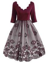 1950s Lace Floral Print Patchwork Dress