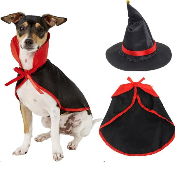 Pet Cloak Cape Hat Set for Cats Dogs Halloween Cosplay Accessaries