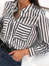 Commuting Stripe Turndown Collar Long Sleeve Blouse