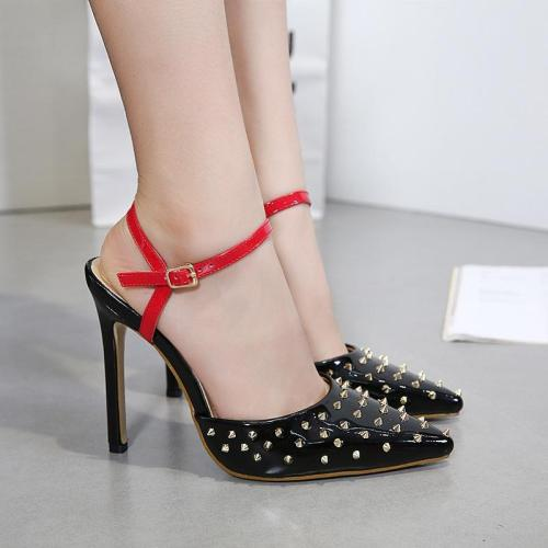 Rivets Pointed Toe Ankle Wrap Stiletto High Heels
