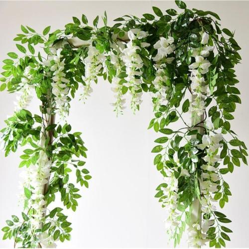 1PC Wisteria Artificial Flowers Vine Garland Wedding Arch Decor Silk Flowers Ivy Home Party Garden Wall Hanging Foliage Rattan