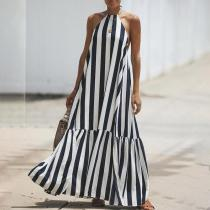 2019 New Loose Hanging Neck Striped  Maxi Dresses