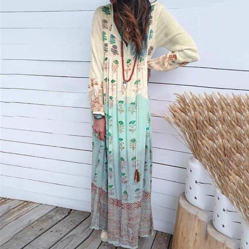 Fashion V-neck Printed Holiday Casual Maxi Dress