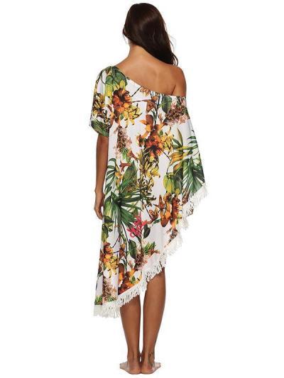 Fashion Tassels Off-the-shoulder Cover-Ups Swimwear
