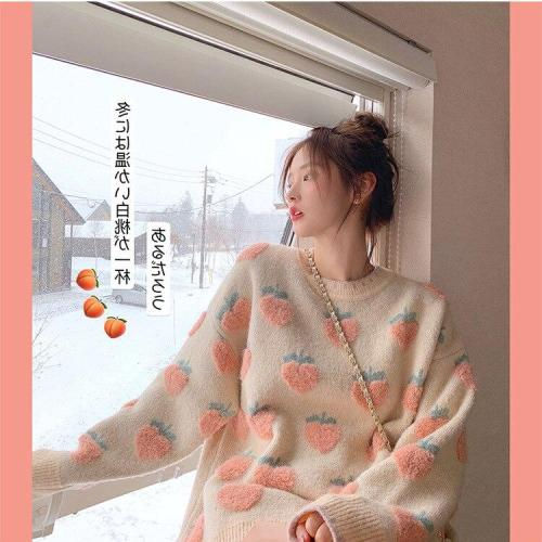 Spring Winter Sweet Lolita Cute Pink Cartoon Strawberry Peach Snowflake Knit Women Casual Pullover loose Sweater Long Style Top