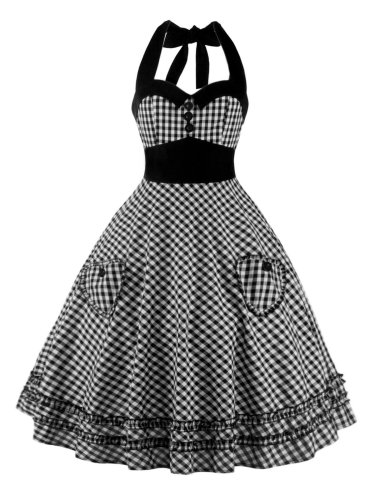 1950s Plaid Pocket Halter Swing Dress
