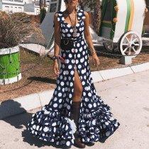 Sexy Fashion Wave Point Split Maxi Dress