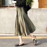 High Waist Velvet Pleated Skirt Women Winter Vintage Black Skirt Ladies 2019 Long Silver Maxi Elascity Casual Party Skirt
