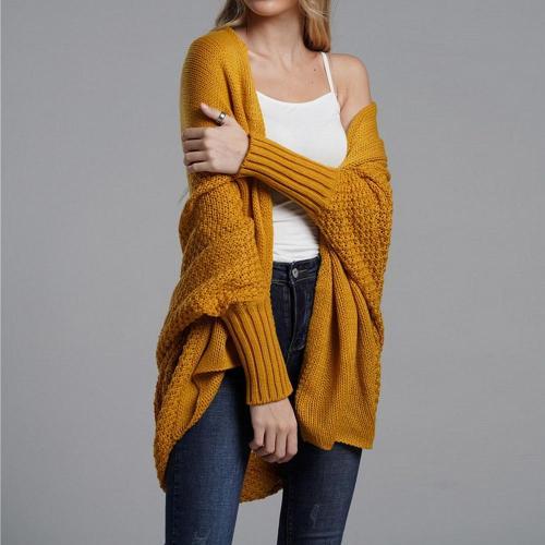 Autumn Winter Flat Knitted Cardigans Coat Women Fashion Long Sleeve Batwing Sweater Beautiful Womans Cardigan