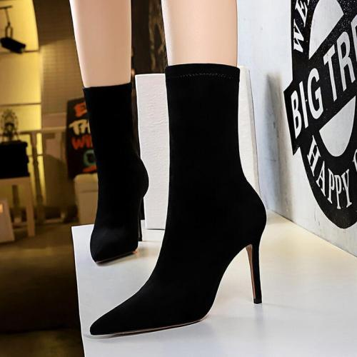 Black Stiletto High Heel Pointed Toe Sock Boots