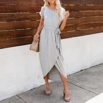 Commuting Belted Short Sleeve Pure Colour Slit Dress