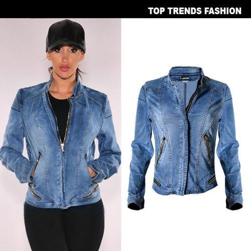 Stand Collar Zipper Women Motorcycle Short Denim Jacket