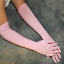 Sposa Fuchsia Satin Pink Glove Long Bridal Gloves Yellow Blue Opera Length Women Dance Party Wedding Gloves Finger Guantes