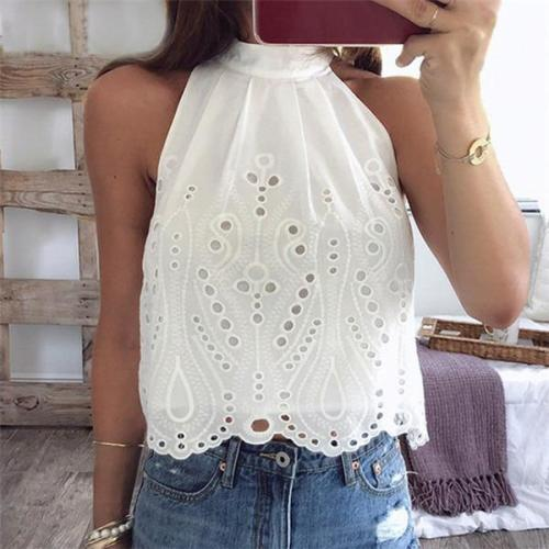 Sexy Sleeveless Hollow Out Shirt