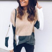 Fashion Color Blocking Long Sleeve Sweater