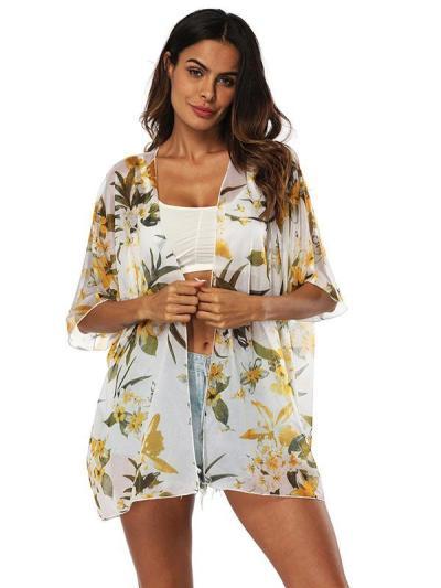 Chiffon Beach Short Sleeves Cover-Ups