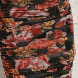 Party Floral Print Sleeveless Midi Bodycon Dress