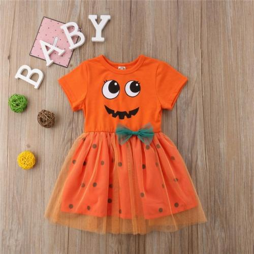 2020 New Pumpkin Fairy Halloween Dress For Girls Costume Outfits Princess Party Fancy Short Sleeve Dress Clothes Cosplay 6M-5T