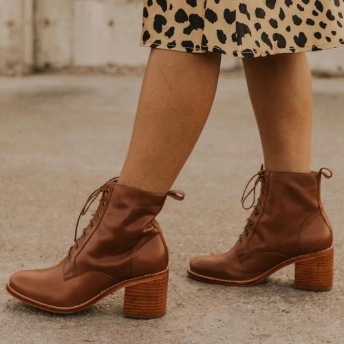 Women's Fashion Chunky Heel Lace-Up Martin Boots