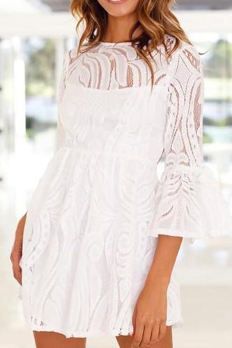Casual Bare Back Bell Sleeve Pure Colour Lace Mini Dresses