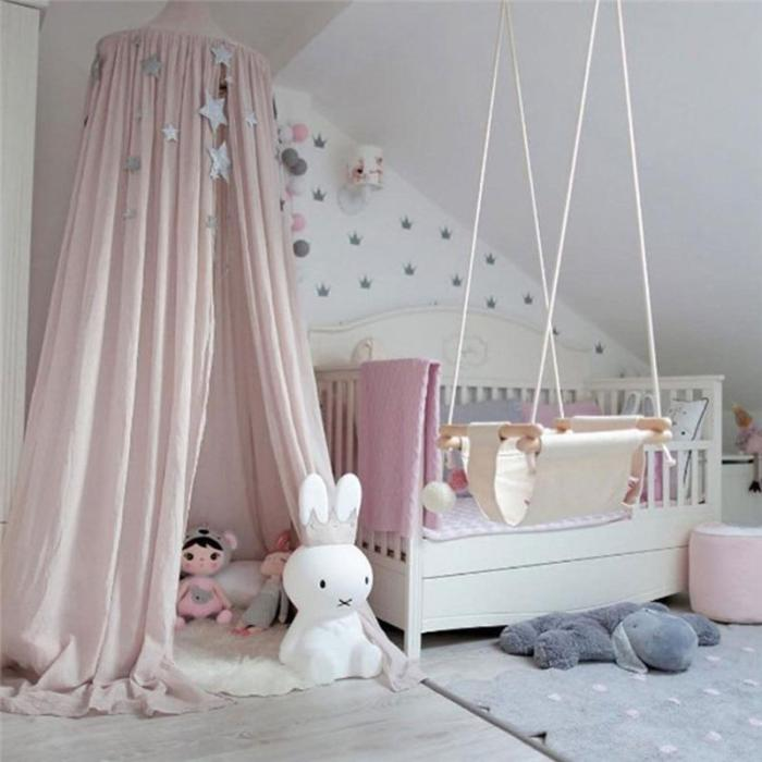 Kids Play House Tents Canopy Bed Curtain Baby Hanging tienda Crib Children Room Decor Round Hung Dome Bed Valance