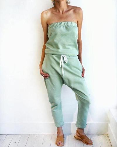 EBUYTIDE Sexy Solid Color Strapless Slim Fit Jumpsuit