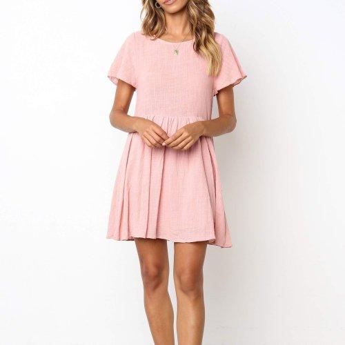 Casual Round Collar Plain Loose Shift Dress