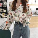 Autumn Female Vintage Print Blouse Loose Long Sleeve Shirts V Collar Women Fashion Tops