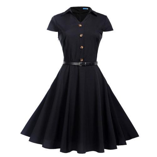 Women Summer Dresses 2020 Office Clothing Robe Vintage 50s 60s Pin Up Big Swing Party Work Wear Rockabilly Dress Vestidos