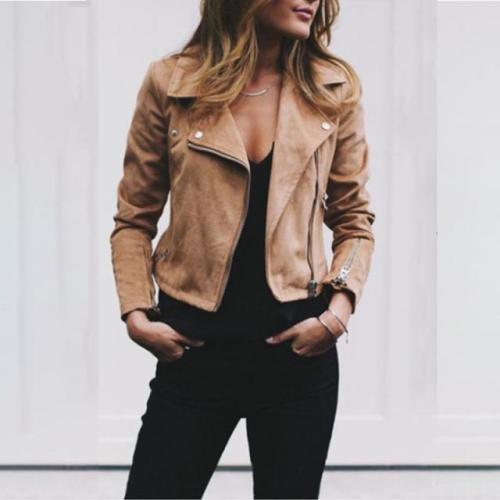 Candy Color Laple Zippers Women Slim Cropped Short Jacket