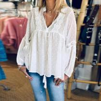 Sexy Lace Tulle Perspective Long Sleeve Shirt