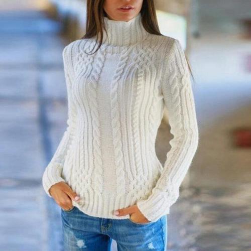 Turtle Neck Plain Long Sleeve Knitting Elegant Sweaters