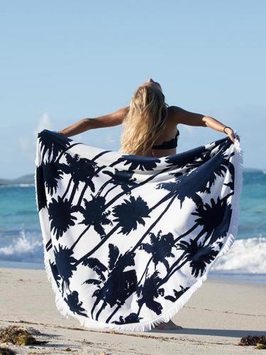 Popular Leaf Pattern Tassels Round Beach Mat Yoga Mat