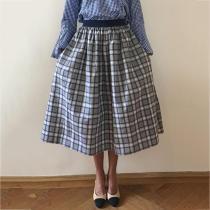 Fashion Plaid Loose Pocket Skirt RY58
