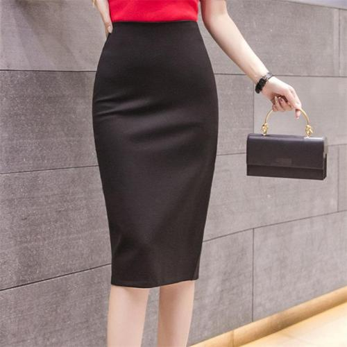 Elegant Midi Pencil Skirts High Waist For Wrok 2020 Large Size Skirt 4XL 5XL Slit Black Red elastic OL Bandage Skirts Womens