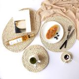 Corn Fur Woven Dining Table Mat Heat Insulation Pot Holder Coasters Coffee Drink Tea Cup Pad Table Round Placemats Mug Coaster