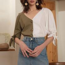 Summer Loose V-neck Women's Short-sleeved Blouses