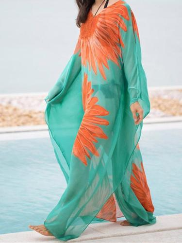 Sunflower Pattern Loose Plus Size Beach Cover-ups