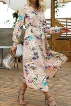 V-Neck Floral Long-Sleeved Dress