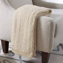 Cotton Transitional Chunky Cable Knit Throw, 50  x 70