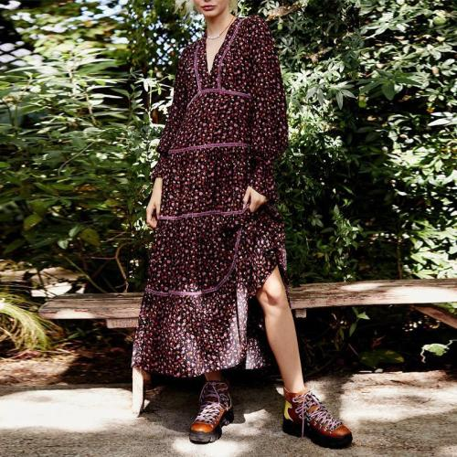 Casual Pastoral V-neck Flared Sleeve Splicing Printed Long Maxi Dress