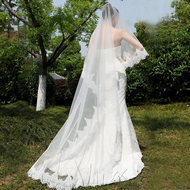 Women Wedding Veil Lace Appliques 3 M Long Cathedra One Layer Tulle Bridal Veil Wedding Accessories